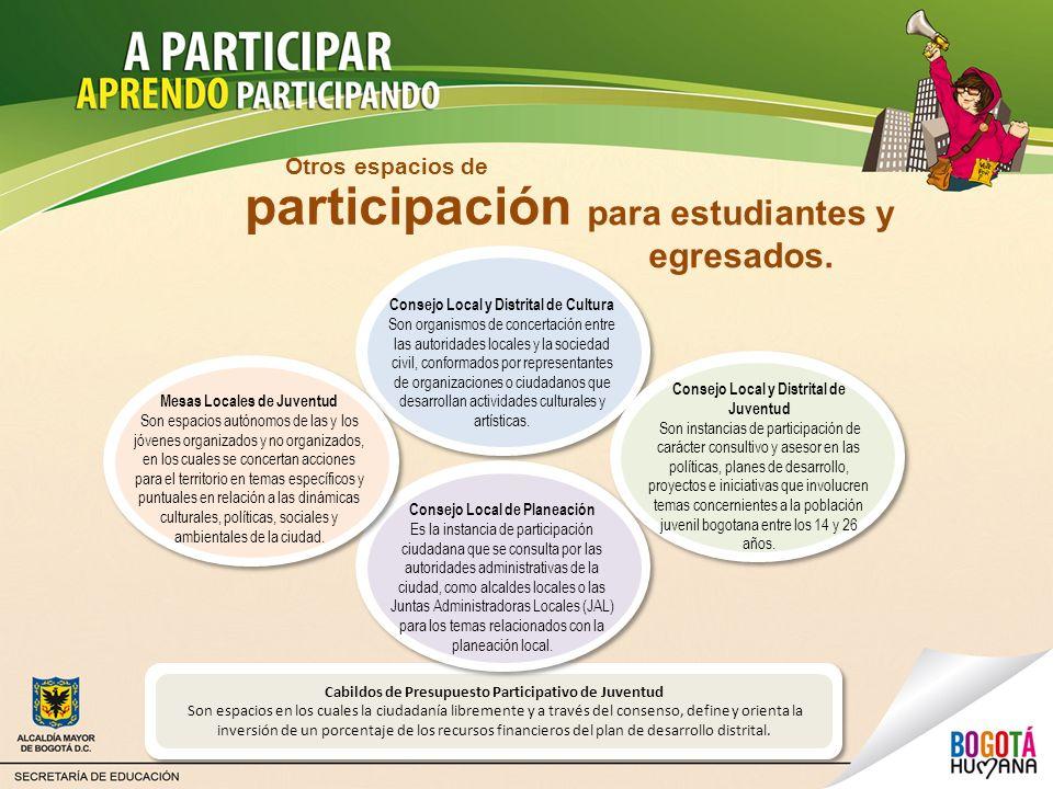 para estudiantes y egresados. Consejo Local y Distrital de Cultura Son organismos de concertación entre las autoridades locales y la sociedad civil, c