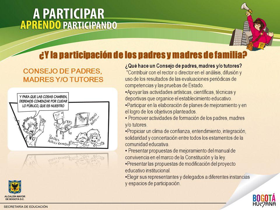 ¿Y la participación de los padres y madres de familia? ¿Qué hace un Consejo de padres, madres y/o tutores? *Contribuir con el rector o director en el