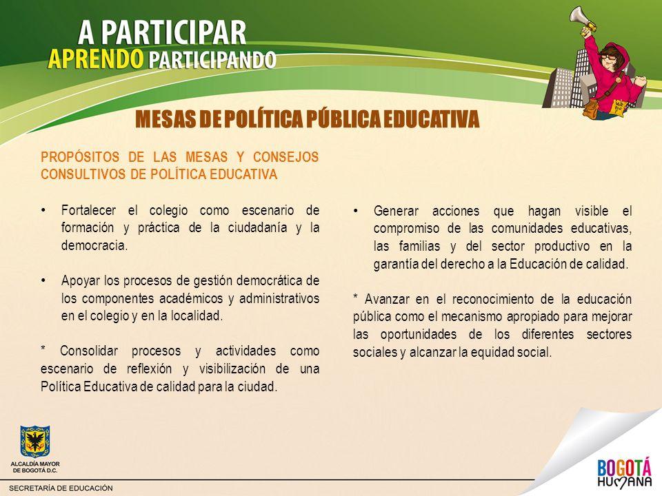 MESAS DE POLÍTICA PÚBLICA EDUCATIVA PROPÓSITOS DE LAS MESAS Y CONSEJOS CONSULTIVOS DE POLÍTICA EDUCATIVA Fortalecer el colegio como escenario de forma