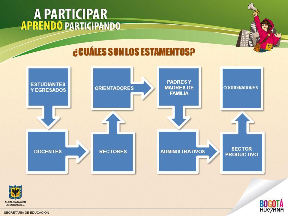 ¿CUÁLES SON LOS ESTAMENTOS? ESTUDIANTES Y EGRESADOS DOCENTESRECTORES ORIENTADORES PADRES Y MADRES DE FAMILIA ADMINISTRATIVOS SECTOR PRODUCTIVO COORDIN