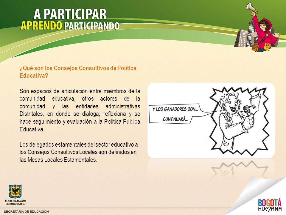 ¿Qué son los Consejos Consultivos de Política Educativa? Son espacios de articulación entre miembros de la comunidad educativa, otros actores de la co