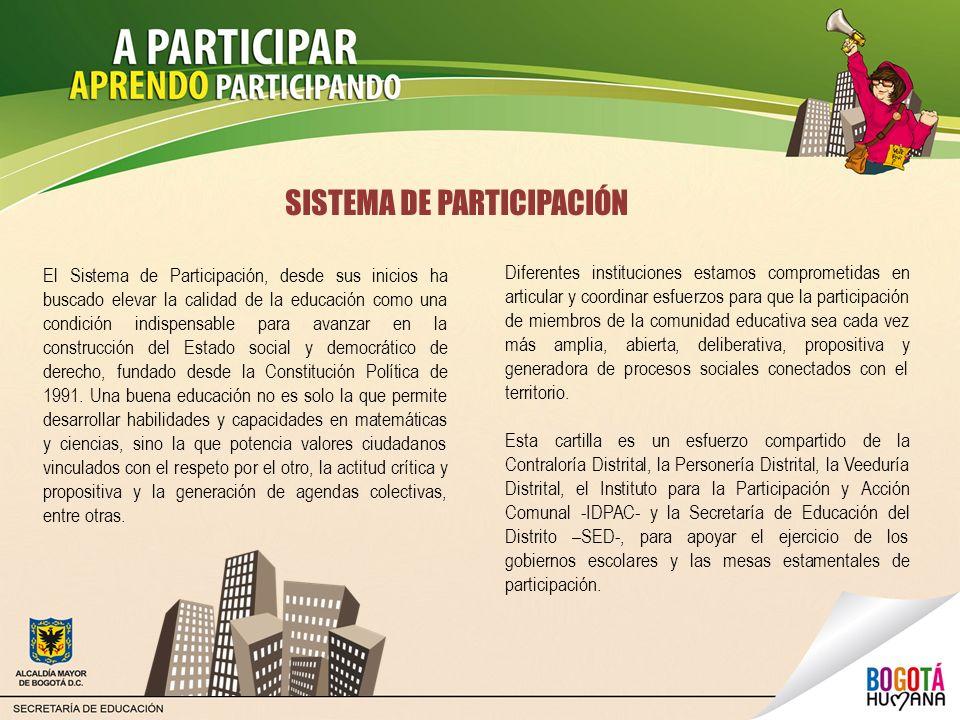 SISTEMA DE PARTICIPACIÓN Diferentes instituciones estamos comprometidas en articular y coordinar esfuerzos para que la participación de miembros de la