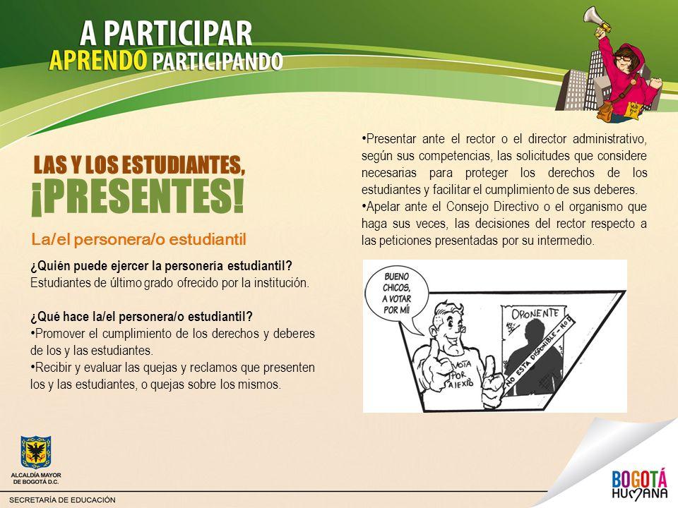 Las contralorías estudiantiles Están compuestas por el/la contralor/a estudiantil, el/la vicecontralor/a estudiantil y el Comité estudiantil de control social.