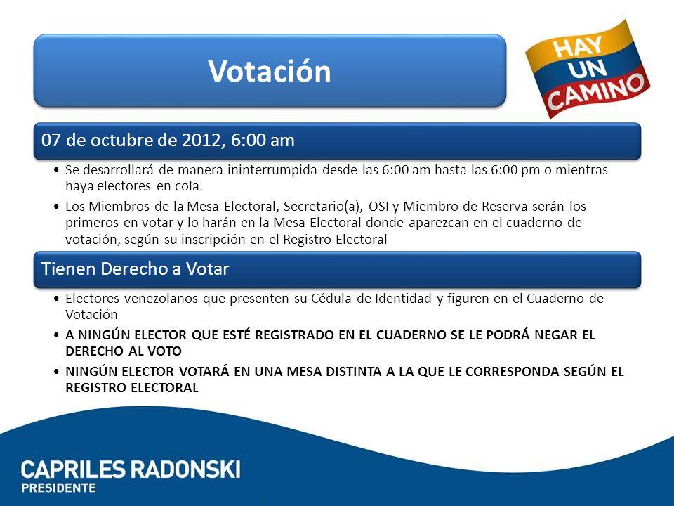 07 de octubre de 2012, 6:00 am Se desarrollará de manera ininterrumpida desde las 6:00 am hasta las 6:00 pm o mientras haya electores en cola.