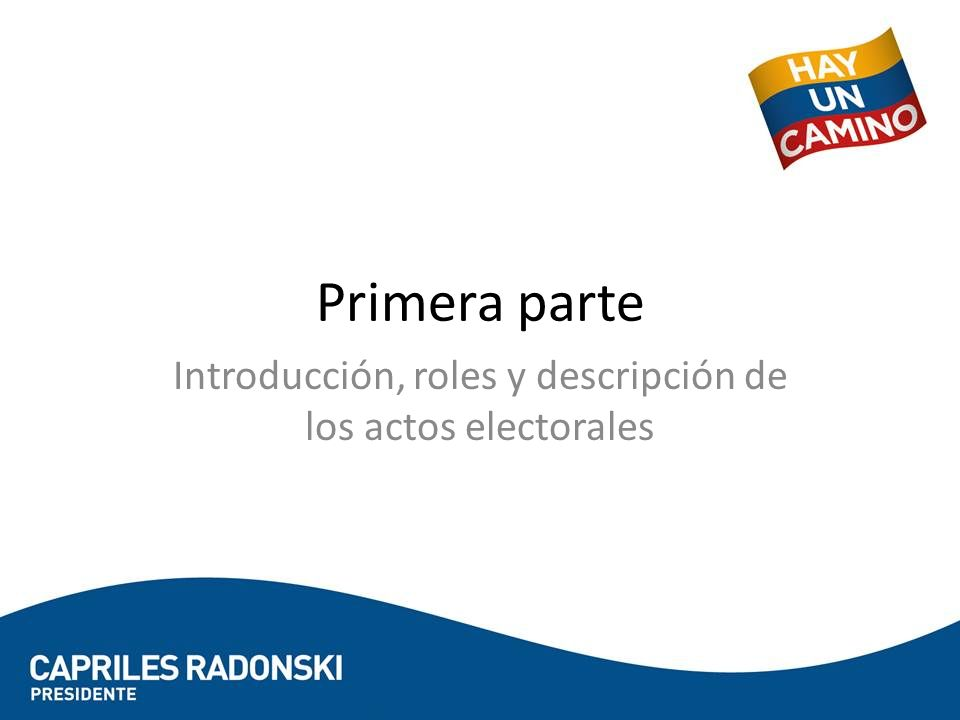 Primera parte Introducción, roles y descripción de los actos electorales