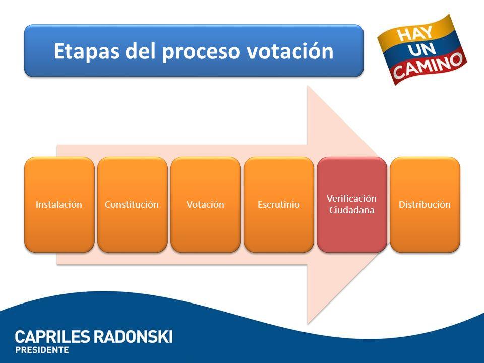 InstalaciónConstituciónVotaciónEscrutinio Verificación Ciudadana Distribución Etapas del proceso votación
