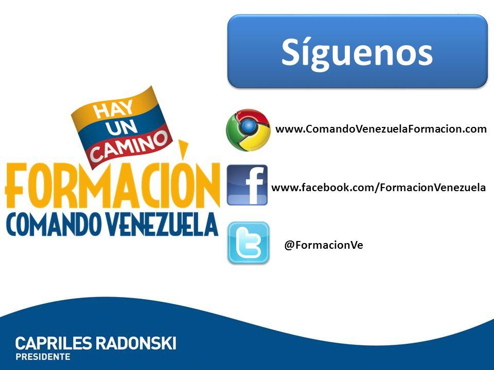 Síguenos www.ComandoVenezuelaFormacion.com www.facebook.com/FormacionVenezuela @FormacionVe