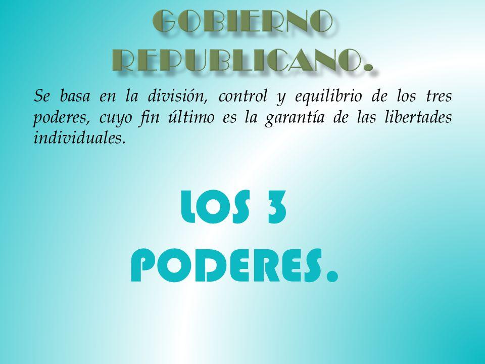 Se basa en la división, control y equilibrio de los tres poderes, cuyo fin último es la garantía de las libertades individuales.