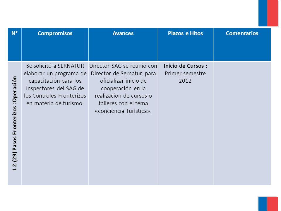 N°CompromisosAvancesPlazos e HitosComentarios I.3.(30) Horarios de atención Realizar cursos de capacitación para los funcionarios de las agencias de aduanas durante el último trimestre del presente año.