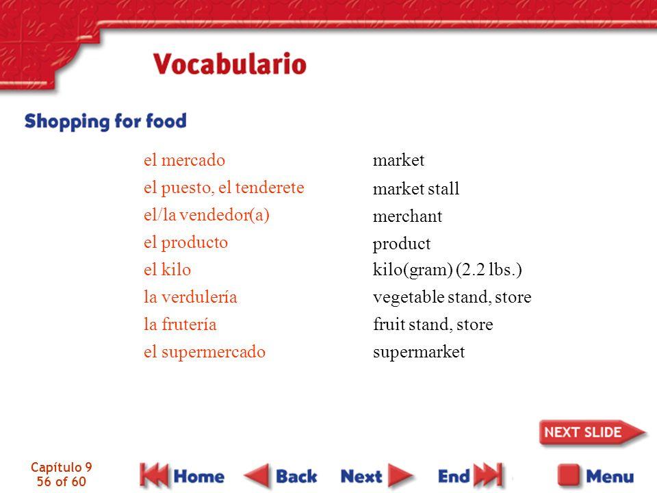 Capítulo 9 56 of 60 el mercado el puesto, el tenderete el/la vendedor(a) el producto el kilo la verdulería la frutería el supermercado market market s