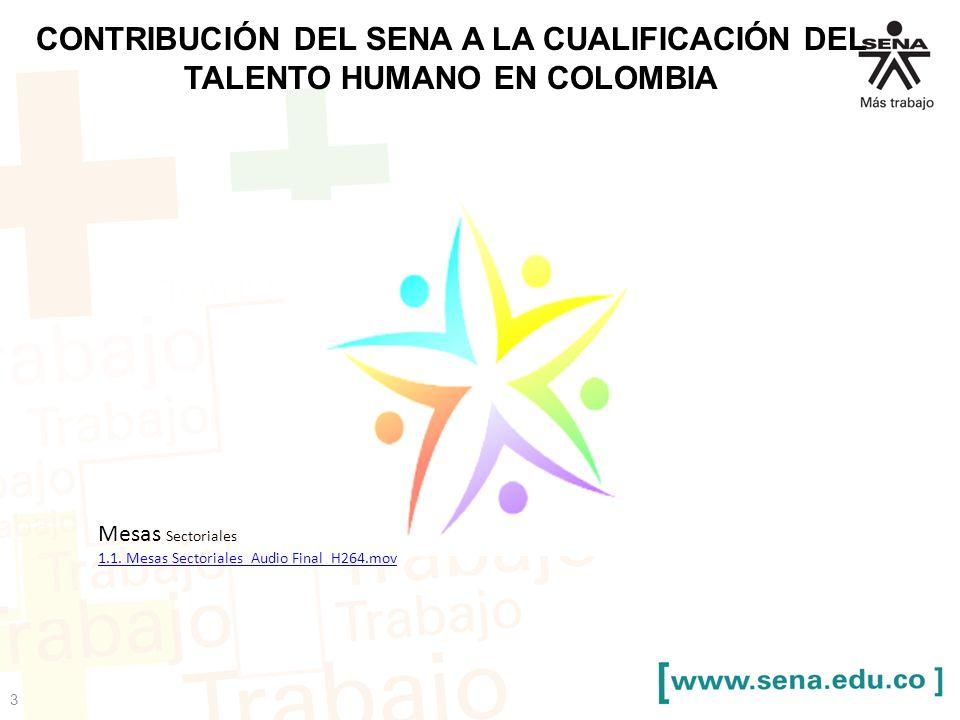 3 CONTRIBUCIÓN DEL SENA A LA CUALIFICACIÓN DEL TALENTO HUMANO EN COLOMBIA Mesas Sectoriales 1.1. Mesas Sectoriales_Audio Final_H264.mov