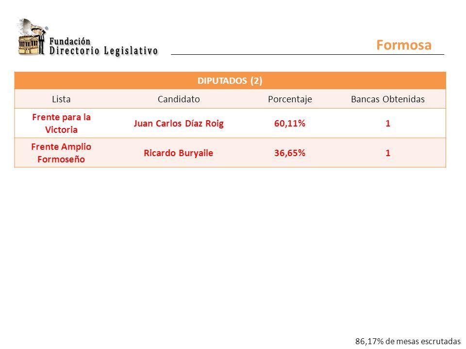Formosa DIPUTADOS (2) ListaCandidatoPorcentajeBancas Obtenidas Frente para la Victoria Juan Carlos Díaz Roig60,11%1 Frente Amplio Formoseño Ricardo Buryaile36,65%1 86,17% de mesas escrutadas