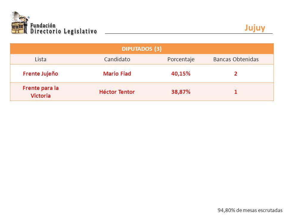 Jujuy DIPUTADOS (3) ListaCandidatoPorcentajeBancas Obtenidas Frente JujeñoMario Fiad40,15%2 Frente para la Victoria Héctor Tentor38,87%1 94,80% de mesas escrutadas