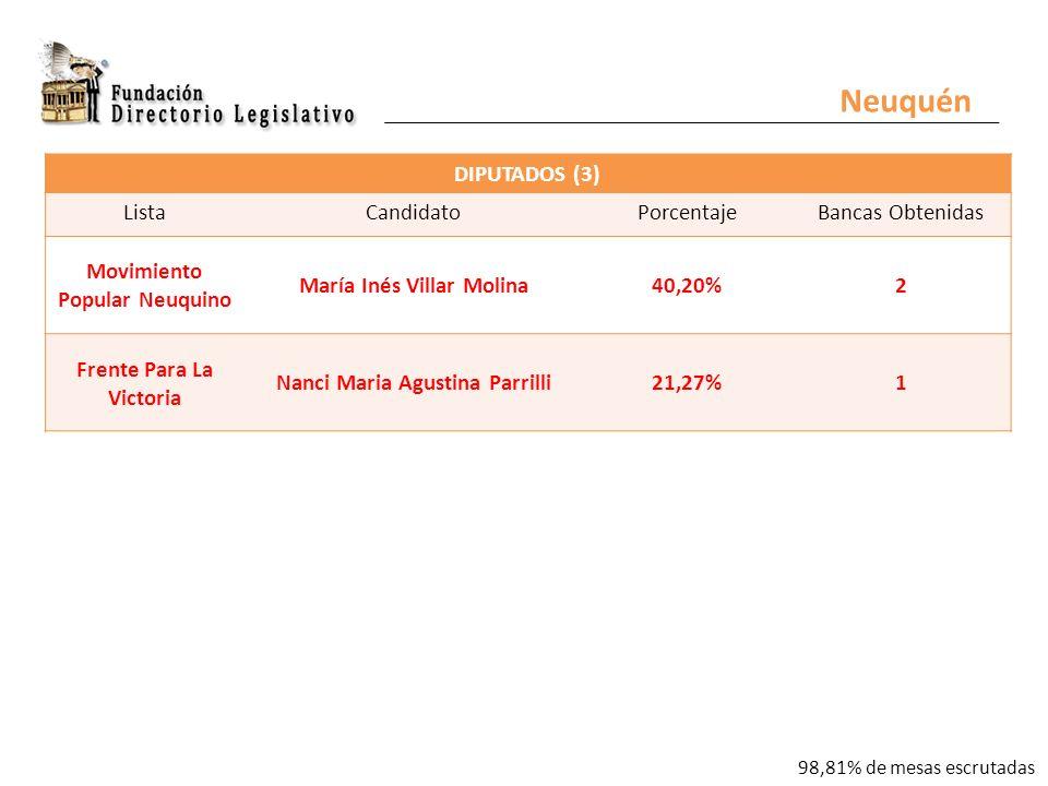 Neuquén DIPUTADOS (3) ListaCandidatoPorcentajeBancas Obtenidas Movimiento Popular Neuquino María Inés Villar Molina40,20%2 Frente Para La Victoria Nanci Maria Agustina Parrilli21,27%1 98,81% de mesas escrutadas
