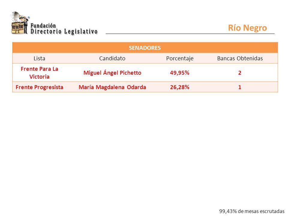 Río Negro SENADORES ListaCandidatoPorcentajeBancas Obtenidas Frente Para La Victoria Miguel Ángel Pichetto49,95%2 Frente ProgresistaMaría Magdalena Odarda26,28%1 99,43% de mesas escrutadas