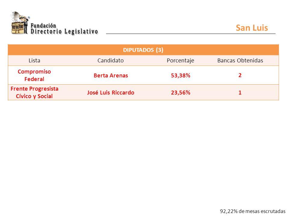 DIPUTADOS (3) ListaCandidatoPorcentajeBancas Obtenidas Compromiso Federal Berta Arenas53,38% 2 Frente Progresista Cívico y Social José Luis Riccardo23,56% 1 San Luis 92,22% de mesas escrutadas