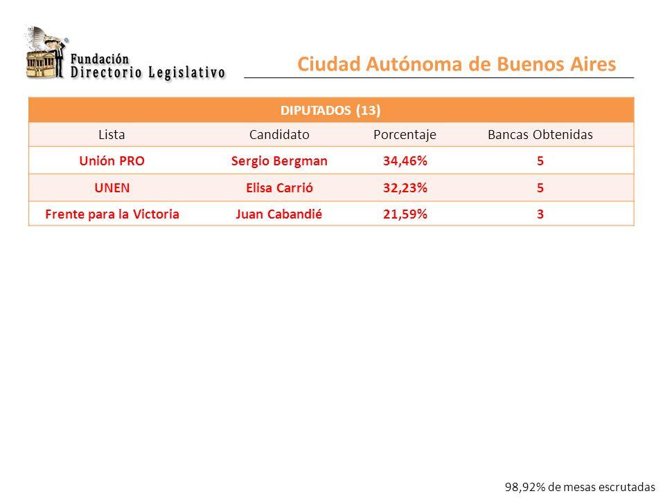 Ciudad Autónoma de Buenos Aires DIPUTADOS (13) ListaCandidatoPorcentajeBancas Obtenidas Unión PROSergio Bergman34,46%5 UNENElisa Carrió32,23%5 Frente para la VictoriaJuan Cabandié21,59%3 98,92% de mesas escrutadas