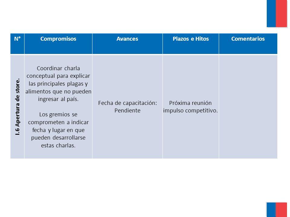 N°CompromisosAvancesPlazos e HitosComentarios I.6 Apertura de store.