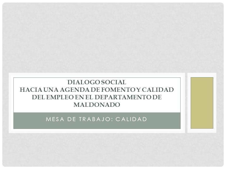 MESA DE TRABAJO: CALIDAD DIALOGO SOCIAL HACIA UNA AGENDA DE FOMENTO Y CALIDAD DEL EMPLEO EN EL DEPARTAMENTO DE MALDONADO