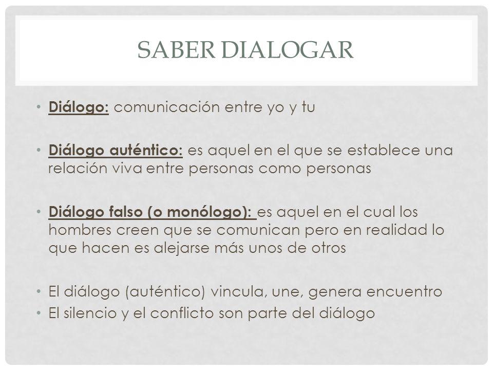 SABER DIALOGAR Diálogo: comunicación entre yo y tu Diálogo auténtico: es aquel en el que se establece una relación viva entre personas como personas D