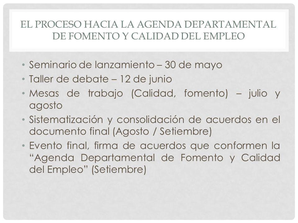 EL PROCESO HACIA LA AGENDA DEPARTAMENTAL DE FOMENTO Y CALIDAD DEL EMPLEO Seminario de lanzamiento – 30 de mayo Taller de debate – 12 de junio Mesas de