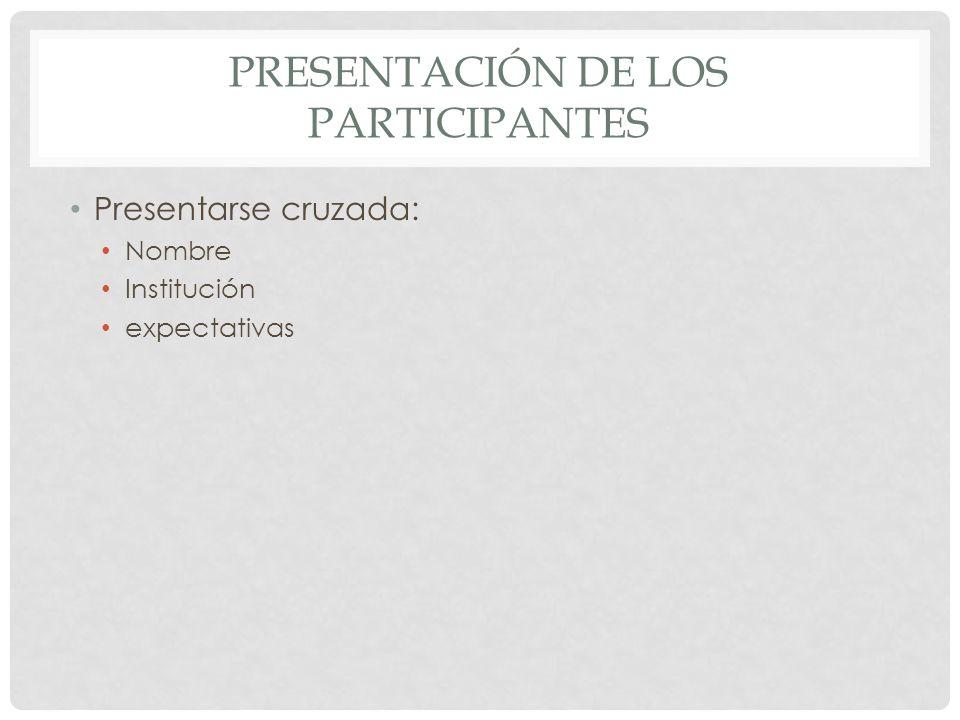 PRESENTACIÓN DE LOS PARTICIPANTES Presentarse cruzada: Nombre Institución expectativas
