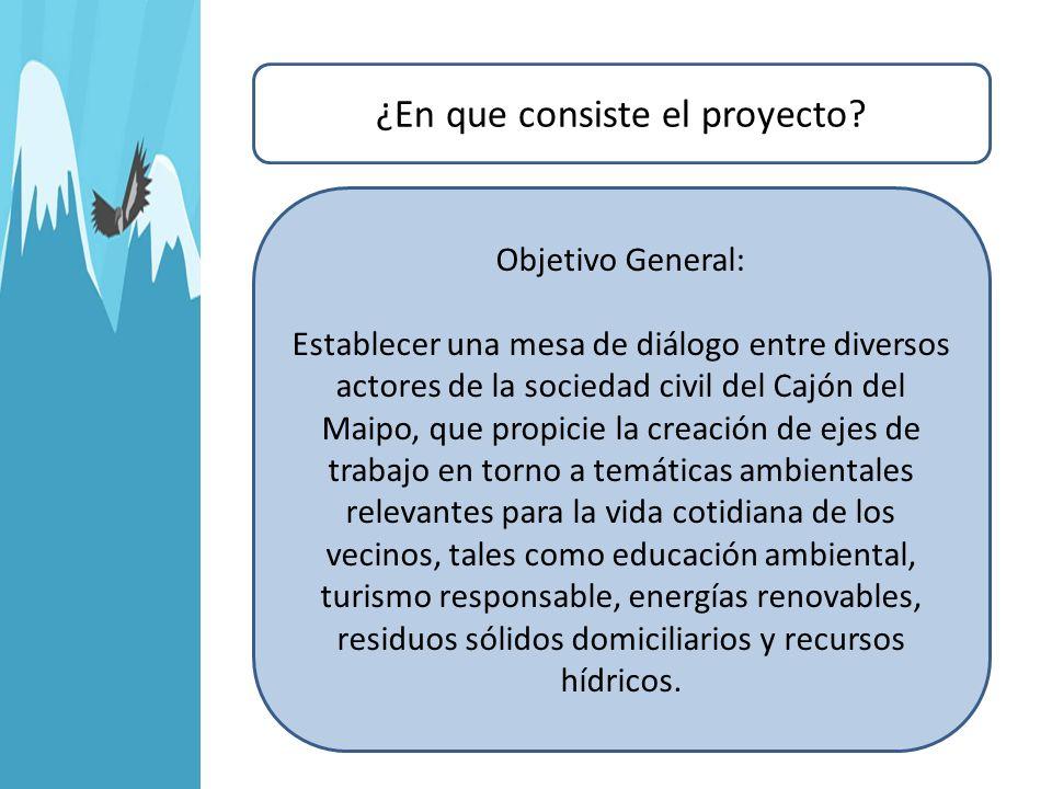 ¿En que consiste el proyecto? Objetivo General: Establecer una mesa de diálogo entre diversos actores de la sociedad civil del Cajón del Maipo, que pr