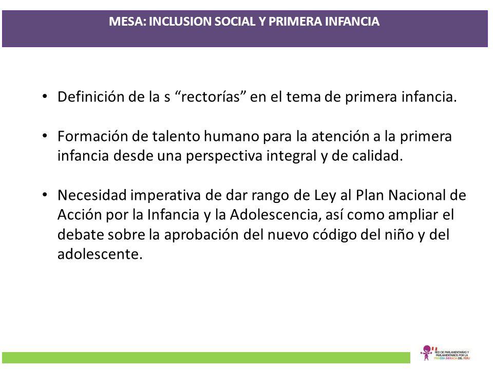 MESA: INCLUSION SOCIAL Y PRIMERA INFANCIA Definición de la s rectorías en el tema de primera infancia. Formación de talento humano para la atención a