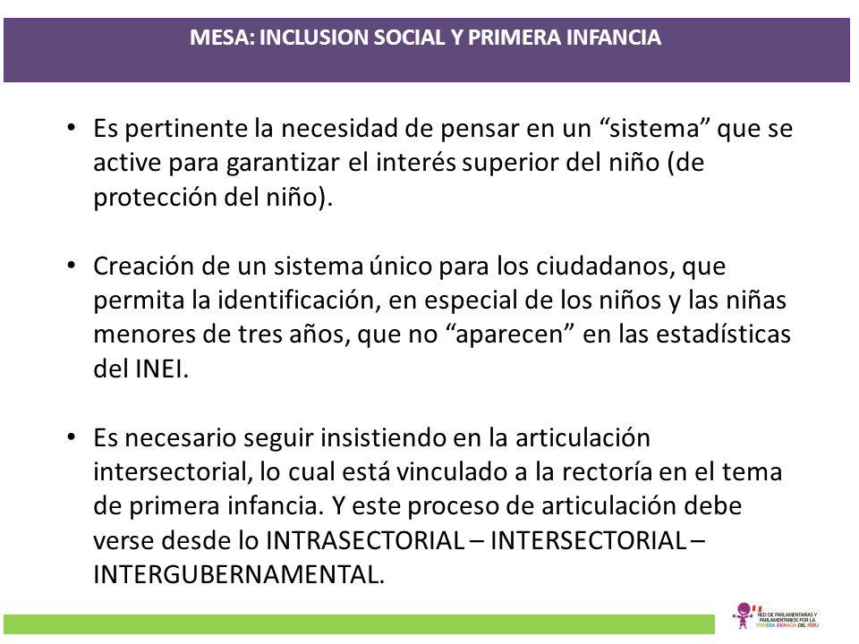 MESA: INCLUSION SOCIAL Y PRIMERA INFANCIA Es pertinente la necesidad de pensar en un sistema que se active para garantizar el interés superior del niñ