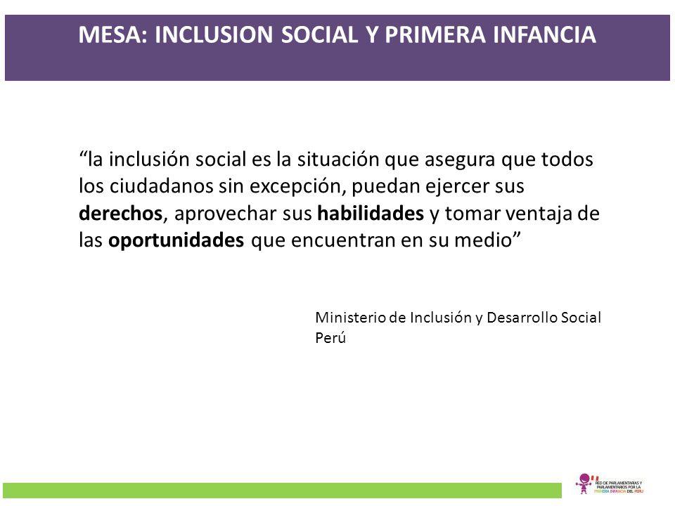 MESA: INCLUSION SOCIAL Y PRIMERA INFANCIA la inclusión social es la situación que asegura que todos los ciudadanos sin excepción, puedan ejercer sus d