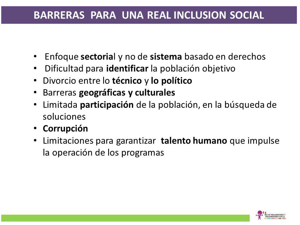 BARRERAS PARA UNA REAL INCLUSION SOCIAL Enfoque sectorial y no de sistema basado en derechos Dificultad para identificar la población objetivo Divorci