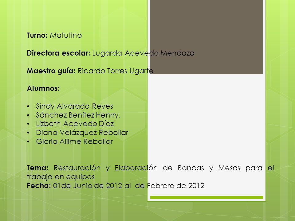 Turno: Matutino Directora escolar: Lugarda Acevedo Mendoza Maestro guía: Ricardo Torres Ugarte Alumnos: Sindy Alvarado Reyes Sánchez Benítez Henrry. L