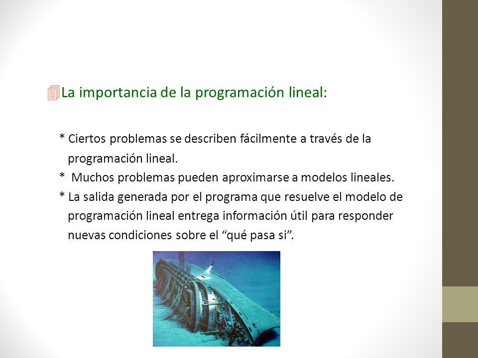 4La importancia de la programación lineal: * Ciertos problemas se describen fácilmente a través de la programación lineal. programación lineal. * Much