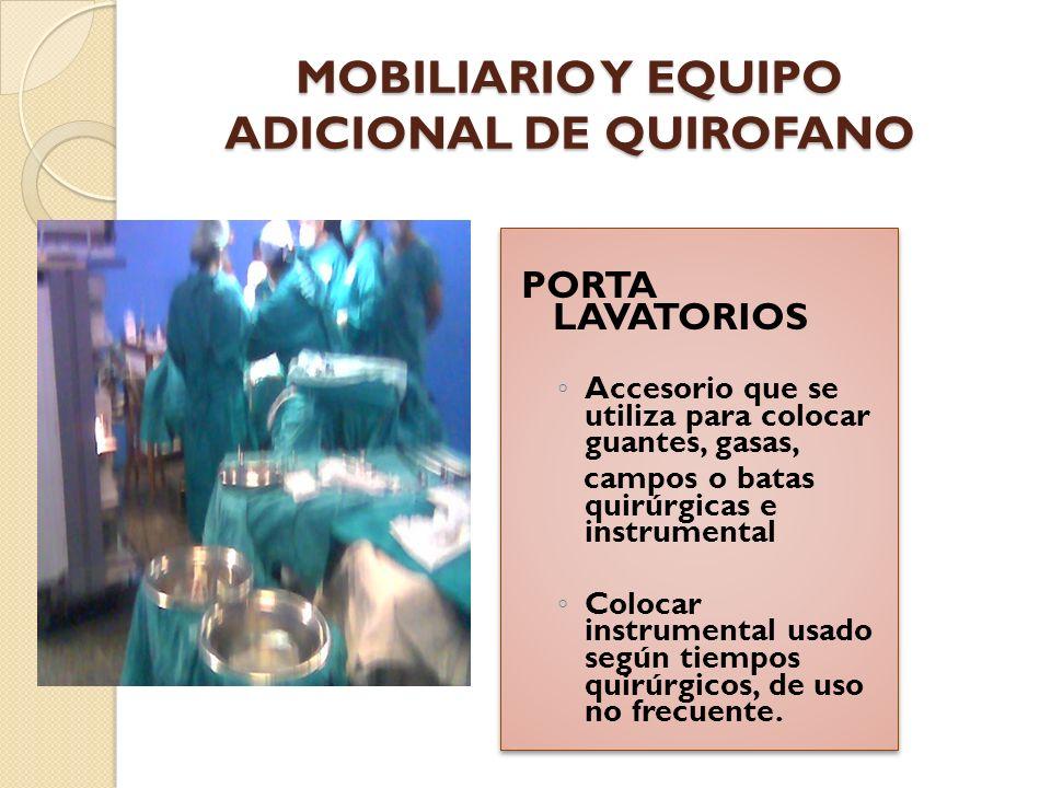 MOBILIARIO Y EQUIPO ADICIONAL DE QUIROFANO LAMPARA QUIRURGICA Deben ser a prueba de explosiones.