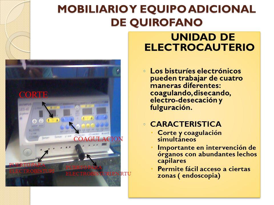 MOBILIARIO Y EQUIPO ADICIONAL DE QUIROFANO SISTEMAS DE COMUNICACION Son un medio vital dentro del quirófano como para pedir ayuda y/o ofrecer información al equipo quirúrgico.