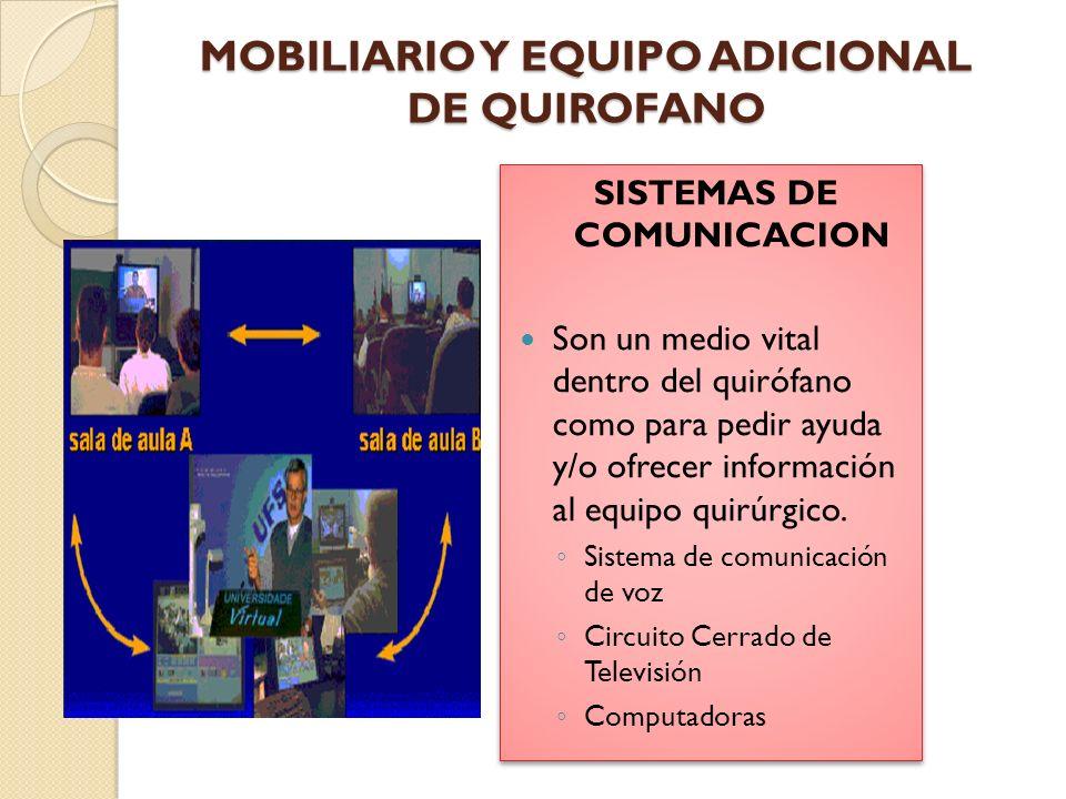 MOBILIARIO Y EQUIPO ADICIONAL DE QUIROFANO MONITORES Monitores y computadoras sirven para mantener informado al personal sobre las funciones fisiológicas del paciente durante la intervención quirúrgica y para registrar otros datos.