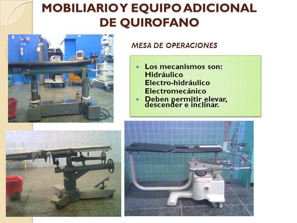MOBILIARIO Y EQUIPO ADICIONAL DE QUIROFANO Proveen de una superficie elevada que soporta el cuerpo del paciente durante los procedimientos quirúrgicos, estabilizando la posición del paciente y suministrando una exposición optima del campo operatorio MESA DE OPERACIONES