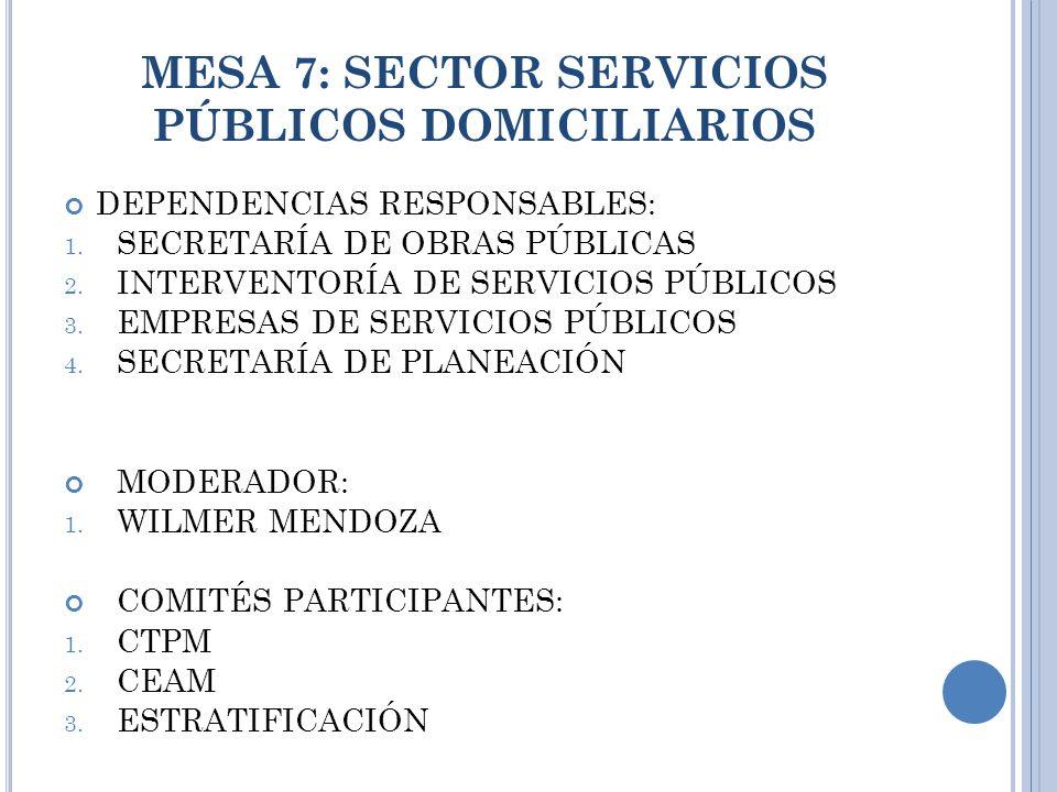 MESA 7: SECTOR SERVICIOS PÚBLICOS DOMICILIARIOS DEPENDENCIAS RESPONSABLES: 1.