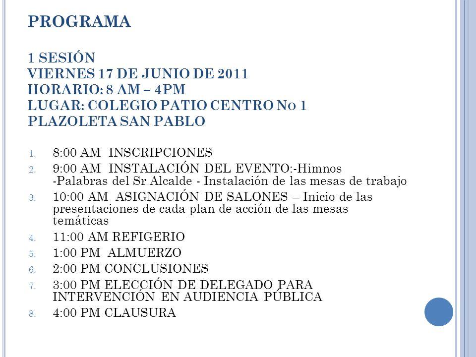 PROGRAMA 1 SESIÓN VIERNES 17 DE JUNIO DE 2011 HORARIO: 8 AM – 4PM LUGAR: COLEGIO PATIO CENTRO N O 1 PLAZOLETA SAN PABLO 1.