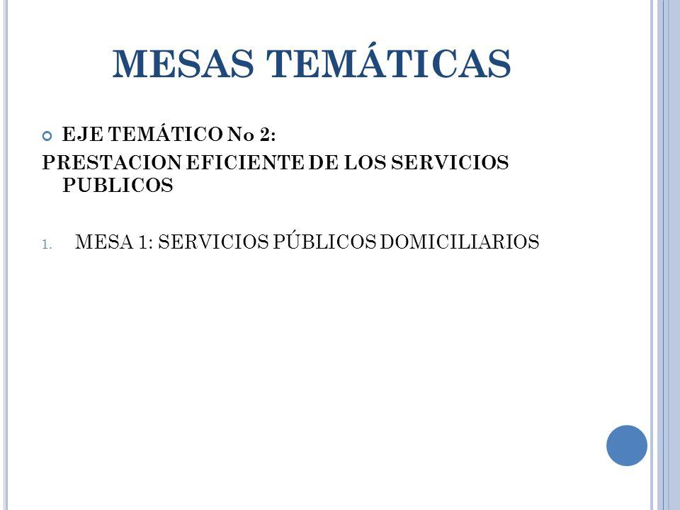 MESAS TEMÁTICAS EJE TEMÁTICO No 2: PRESTACION EFICIENTE DE LOS SERVICIOS PUBLICOS 1.