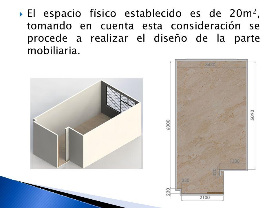 El espacio físico establecido es de 20m 2, tomando en cuenta esta consideración se procede a realizar el diseño de la parte mobiliaria.