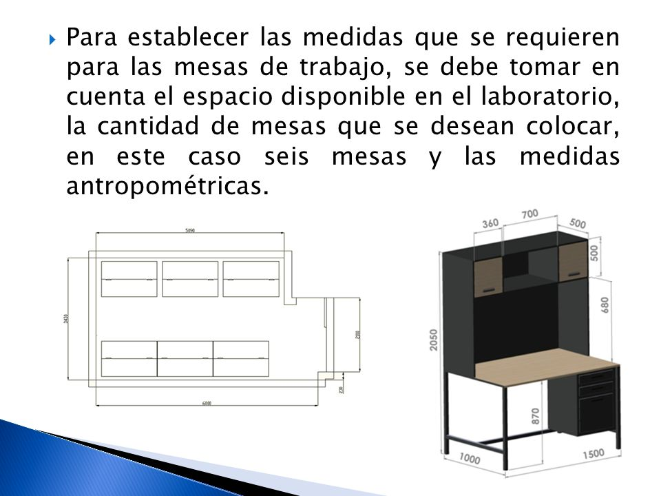 Para establecer las medidas que se requieren para las mesas de trabajo, se debe tomar en cuenta el espacio disponible en el laboratorio, la cantidad d