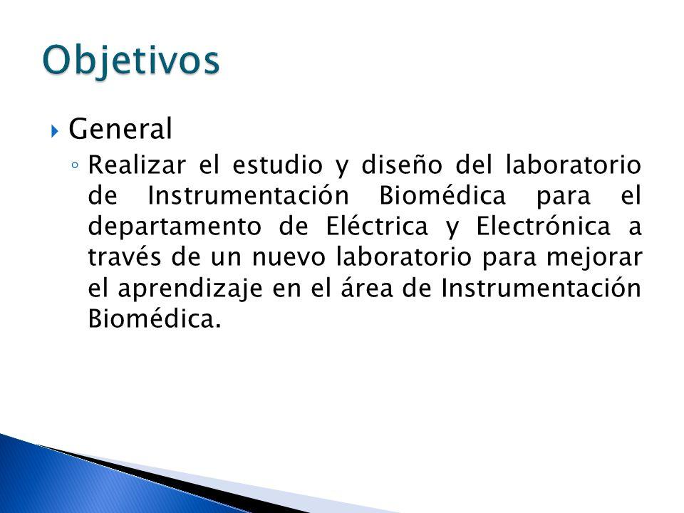 General Realizar el estudio y diseño del laboratorio de Instrumentación Biomédica para el departamento de Eléctrica y Electrónica a través de un nuevo