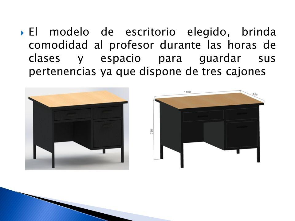 El modelo de escritorio elegido, brinda comodidad al profesor durante las horas de clases y espacio para guardar sus pertenencias ya que dispone de tr