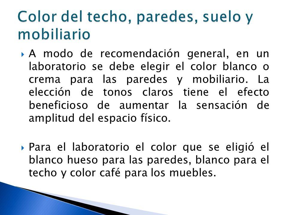 A modo de recomendación general, en un laboratorio se debe elegir el color blanco o crema para las paredes y mobiliario. La elección de tonos claros t