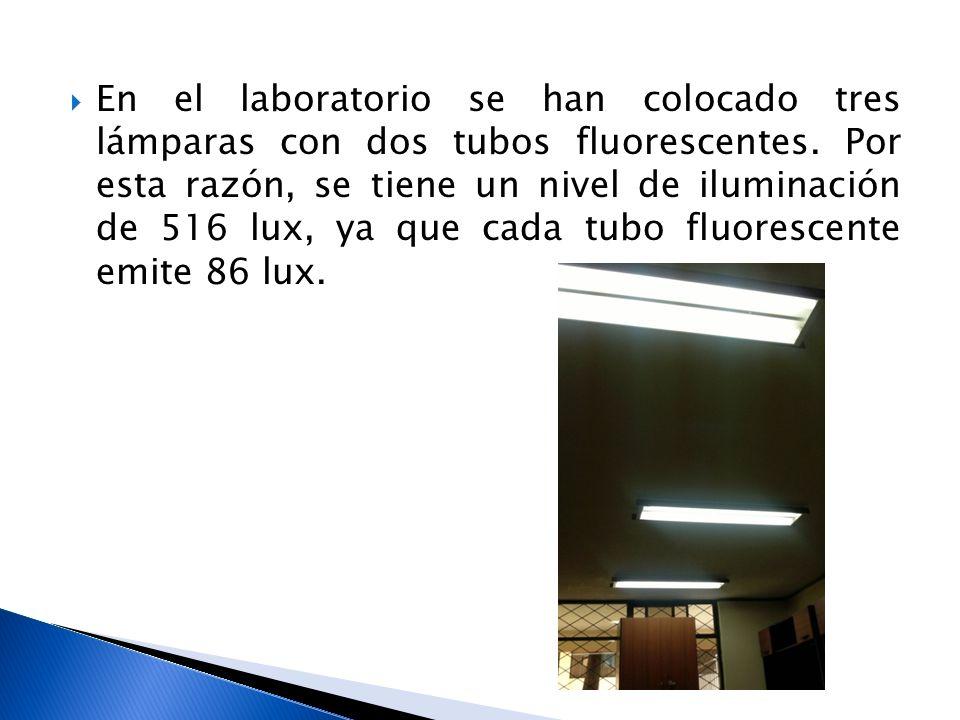 En el laboratorio se han colocado tres lámparas con dos tubos fluorescentes. Por esta razón, se tiene un nivel de iluminación de 516 lux, ya que cada
