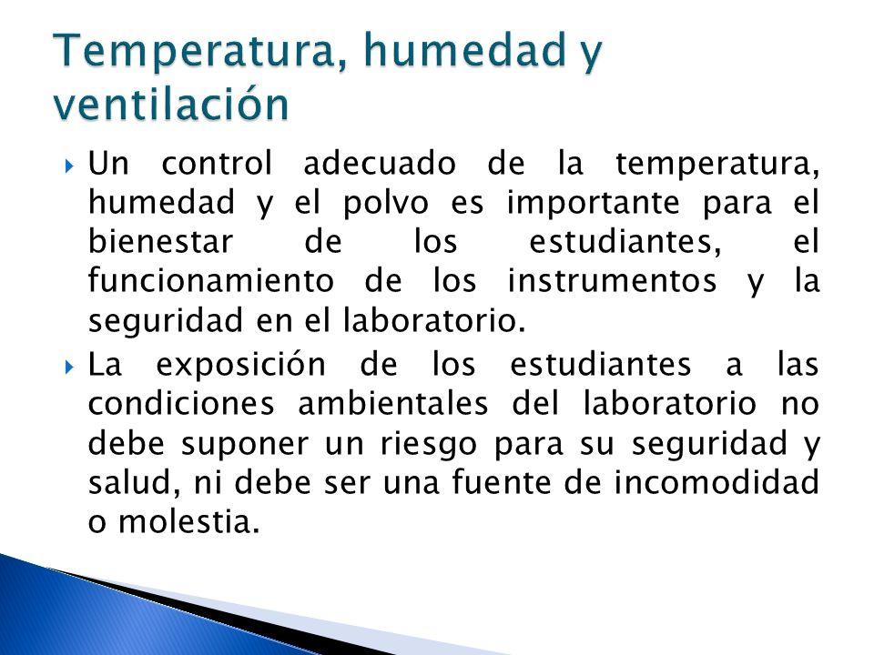 Un control adecuado de la temperatura, humedad y el polvo es importante para el bienestar de los estudiantes, el funcionamiento de los instrumentos y