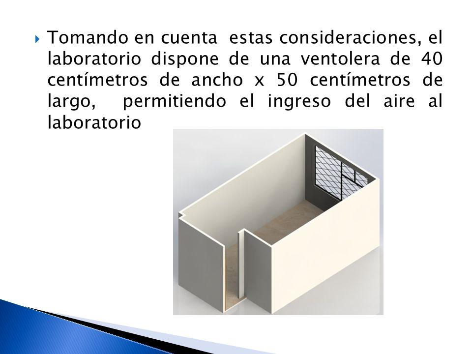 Tomando en cuenta estas consideraciones, el laboratorio dispone de una ventolera de 40 centímetros de ancho x 50 centímetros de largo, permitiendo el