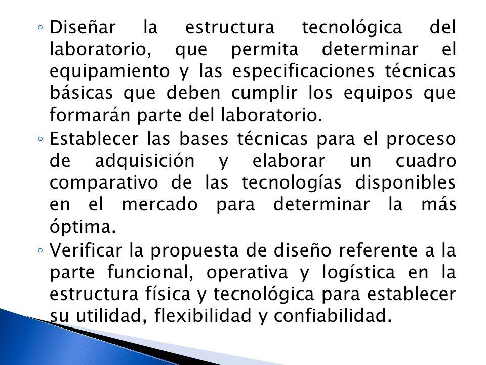 Diseñar la estructura tecnológica del laboratorio, que permita determinar el equipamiento y las especificaciones técnicas básicas que deben cumplir lo