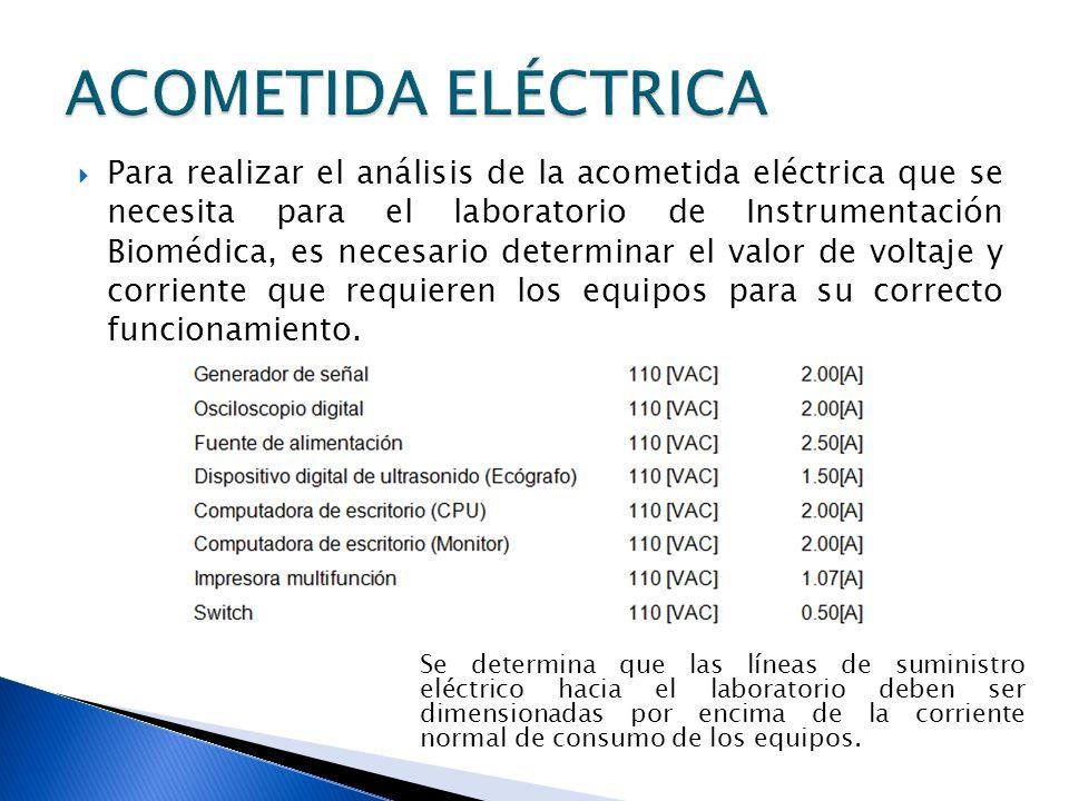 Para realizar el análisis de la acometida eléctrica que se necesita para el laboratorio de Instrumentación Biomédica, es necesario determinar el valor